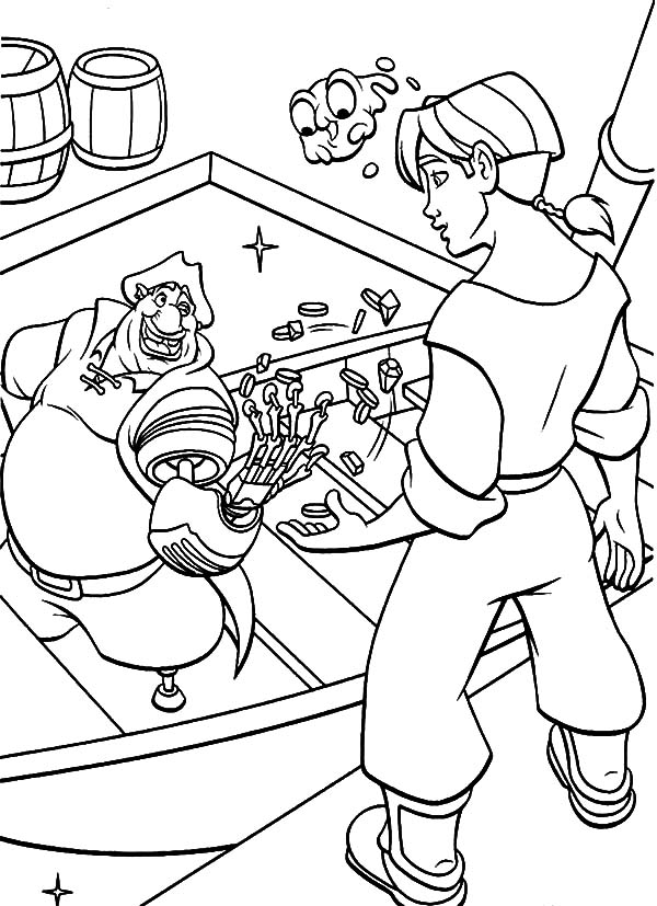 Treasure Planet, : Treasure Planet John Silver Rich Ugly Pirate Coloring Pages