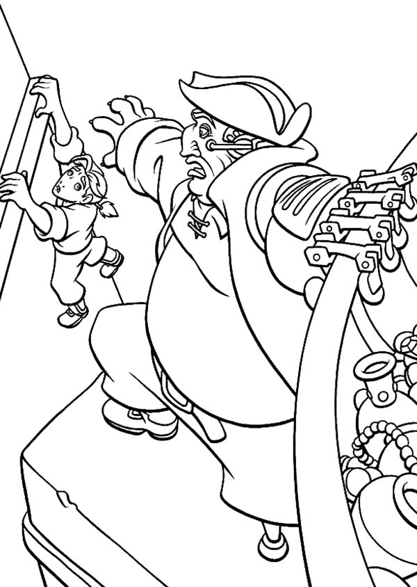 Treasure Planet, : Treasure Planet John Silver Try to Save Jim Hawkins Coloring Pages