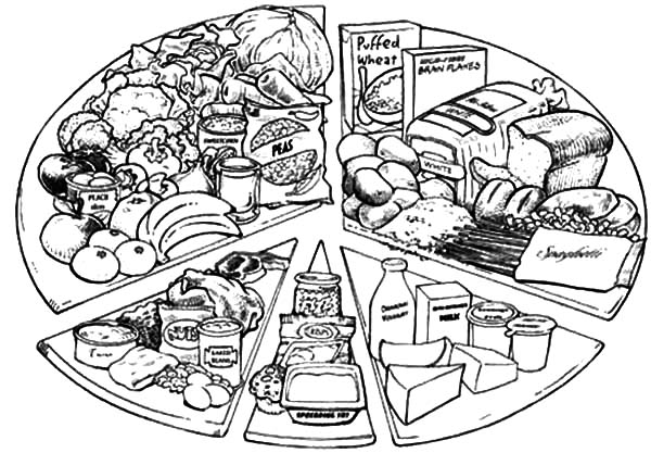 Healthy Eating, : Various Types of Healthy Food and Eating it Coloring Pages