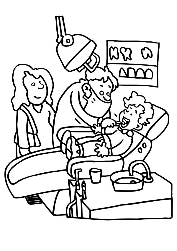 Health, : Visiting Dentist for Teeth Health Coloring Pages