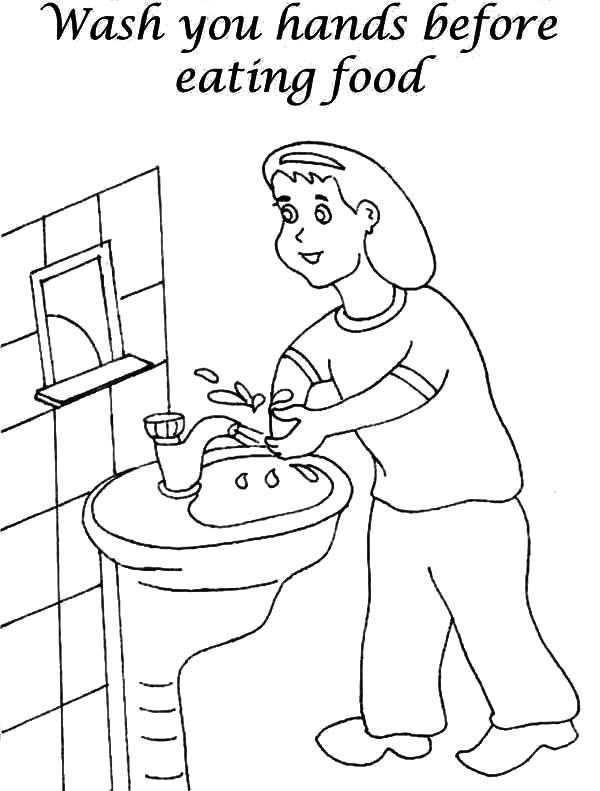 Hand Washing, : Washing Hand Before Eating Coloring Pages