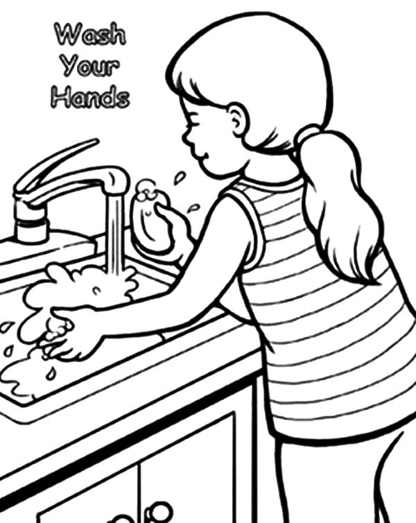 Hand Washing, : Washing Your Hand Coloring Pages