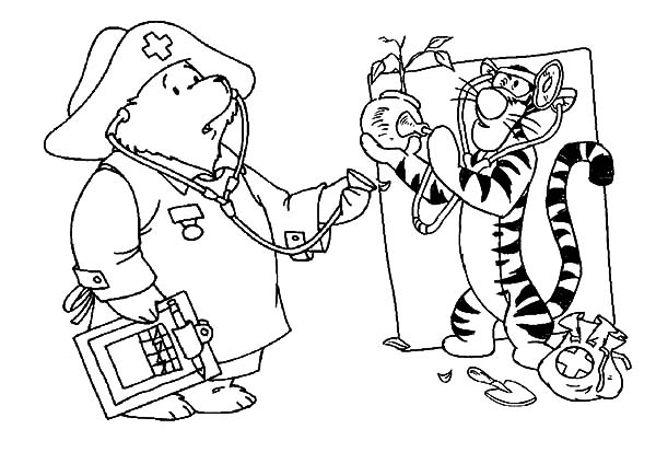 Health, : Winnie the Pooh and Tigger Hear Plant Health Coloring Pages