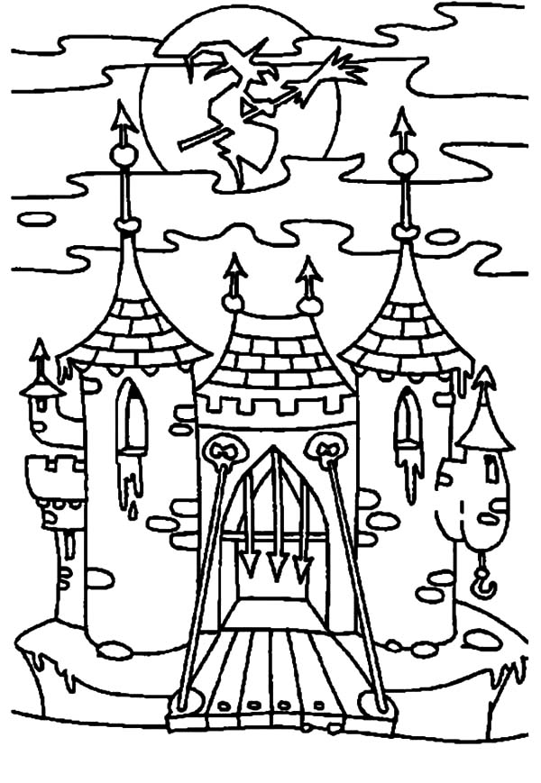 witch haunted house opening gate coloring pages - Haunted House Coloring Pages