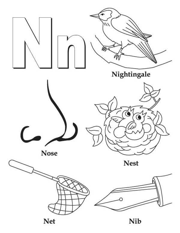 Letter n, : Words Begin with Letter N Coloring Page