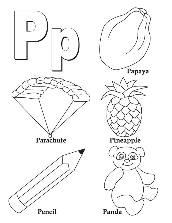 Letter p, : Words from Ltter P Coloring Page