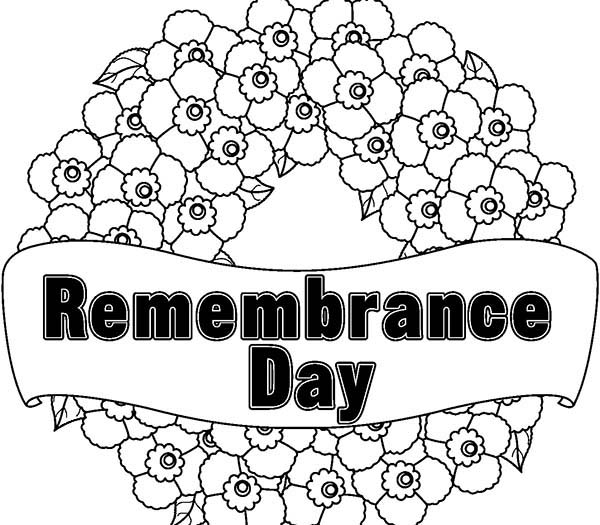 Remembrance Day, : Wreath for Remembrance Day Coloring Pages