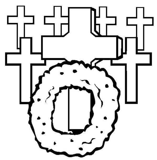 Remembrance Day, : Wreath on Graveyard Remembrance Day Coloring Pages
