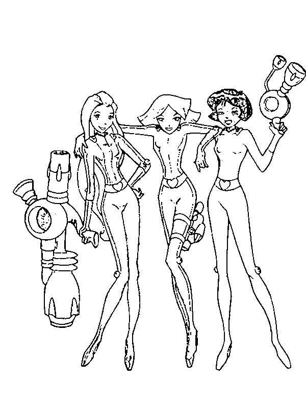 Totall Spies, : totally-spies-coloring-pages-2