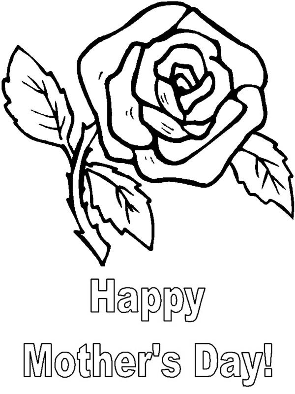 Mothers Day, : A Beautiful Rose for Mothers Day Coloring Page