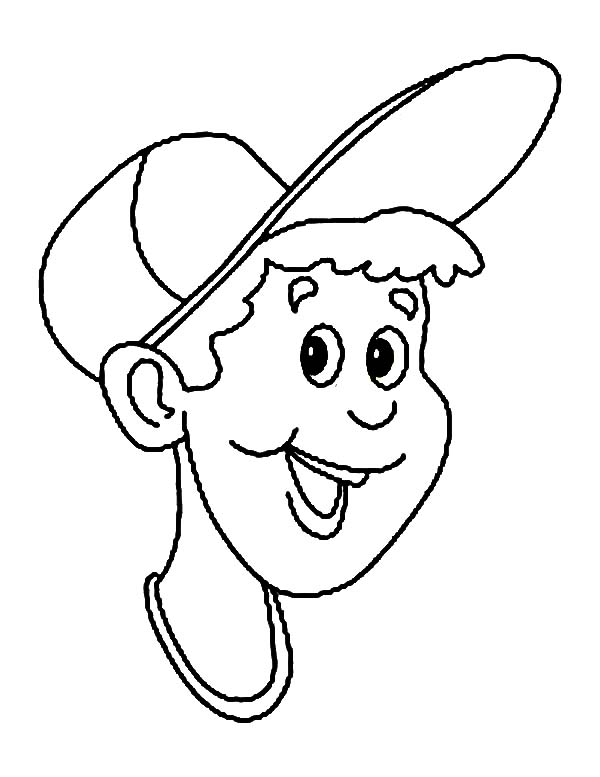 Baseball Cap, : A Boy Put Baseball Cap on His Head Coloring Page