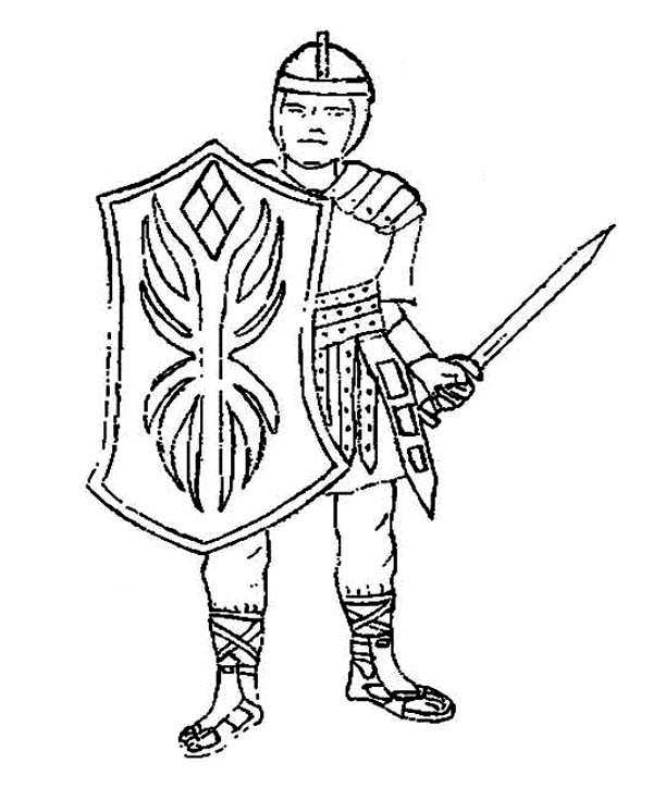 Armor of God, : A Brave Knight Ready to Defend in Armor of God Coloring Page