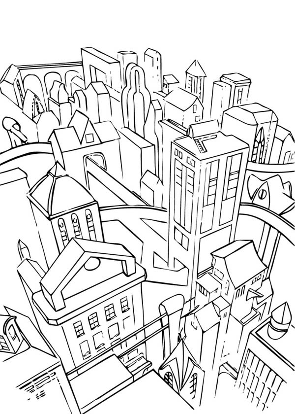 City, : A City with So Many Building Coloring Page