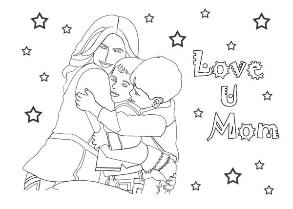 Mothers Day, : A Family Celebrate Happy Mothers Day Coloring Page