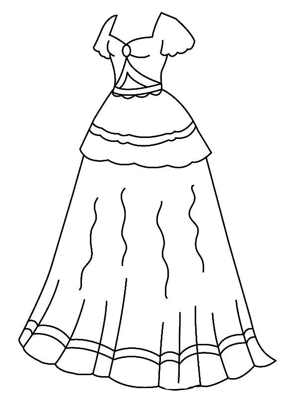 Dress, : A Long Beautiful Dress Coloring Page