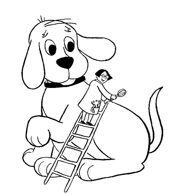 Clifford the Big Red Dog, : A Vet is Checking Clifford the Big Red Dog Health Coloring Page