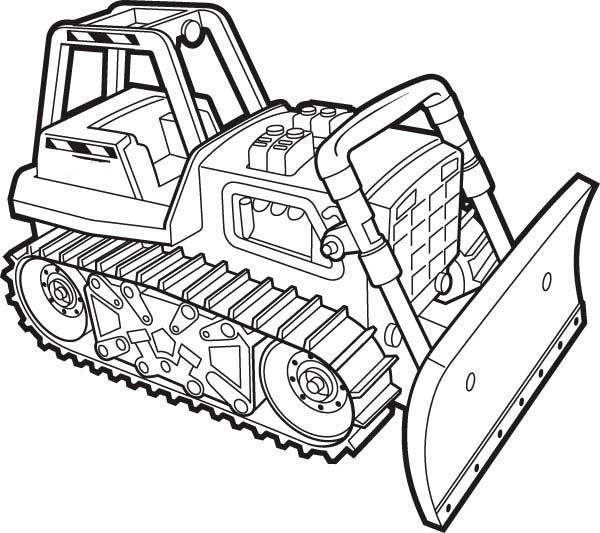 Bulldozer, : A Working Bulldozer Coloring Page