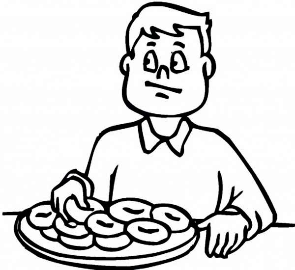 Breakfast, : A boy Eating Breakfast Before School Coloring Page