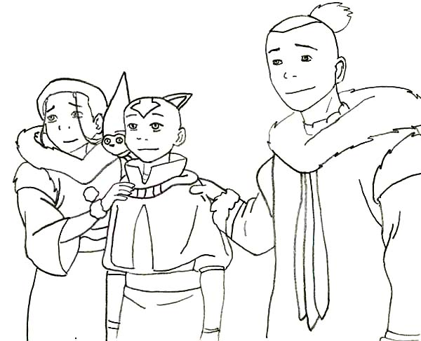 Avatar the Last Air Bender, : Aang Katara and Sokka from Avatar the Last Air Bender Coloring Page