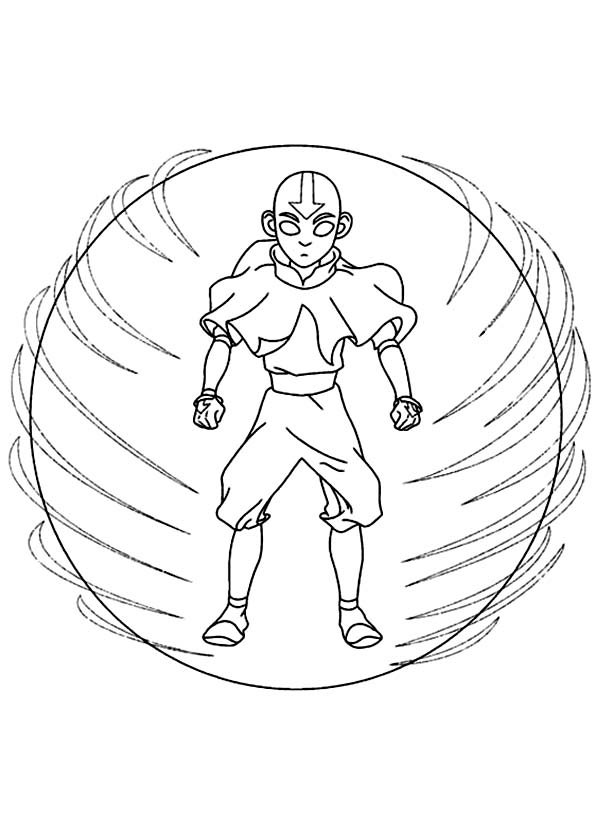 Avatar the Last Air Bender, : Aang Possessed by Avatar Spirit Coloring Page