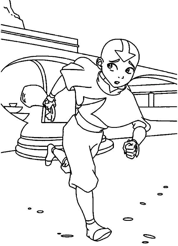 Avatar the Last Air Bender, : Aang Runs Avoiding Trouble in Avatar the Last Air Bender Coloring Page