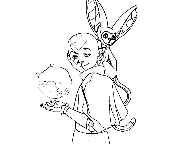Avatar the Last Air Bender, : Aang and Momo from Avatar the Last Air Bender Coloring Page
