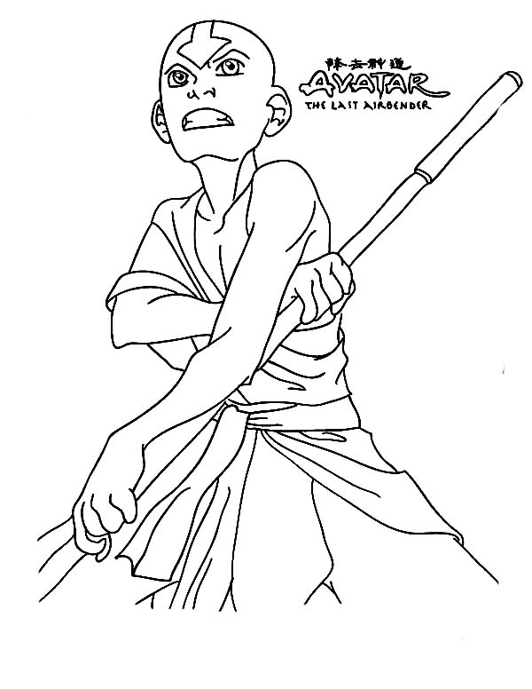Avatar the Last Air Bender, : Aang from Avatar the Last Air Bender Coloring Page