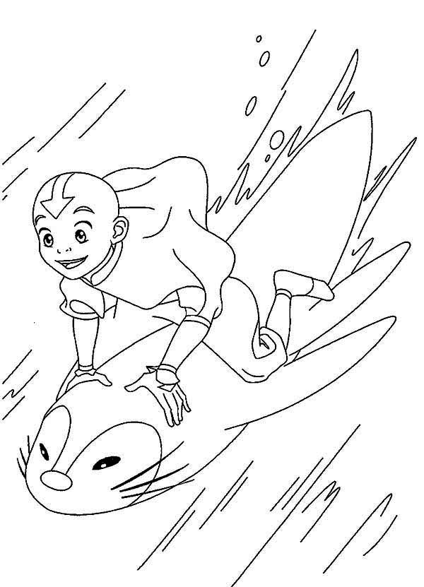 Avatar the Last Air Bender, : Aang is Having Fun in Avatar the Last Air Bender Coloring Page