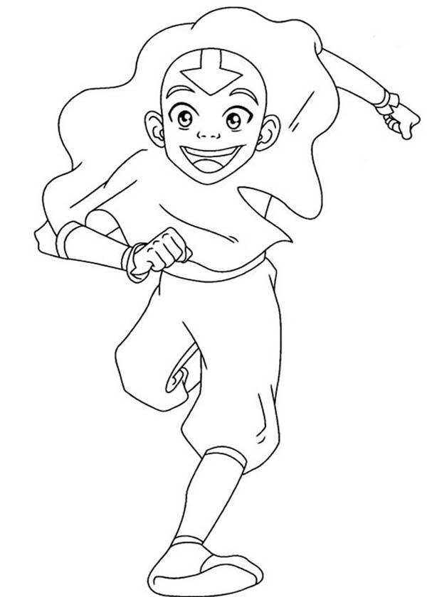 Avatar the Last Air Bender, : Aang is so Happy in Avatar the Last Air Bender Coloring Page
