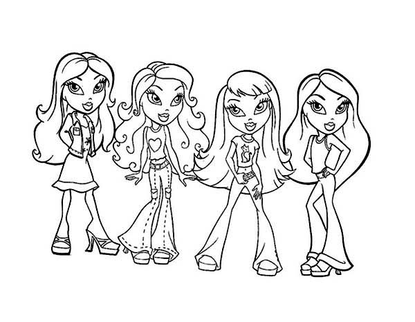 Bratz, : All Bratz Characters Coloring Page