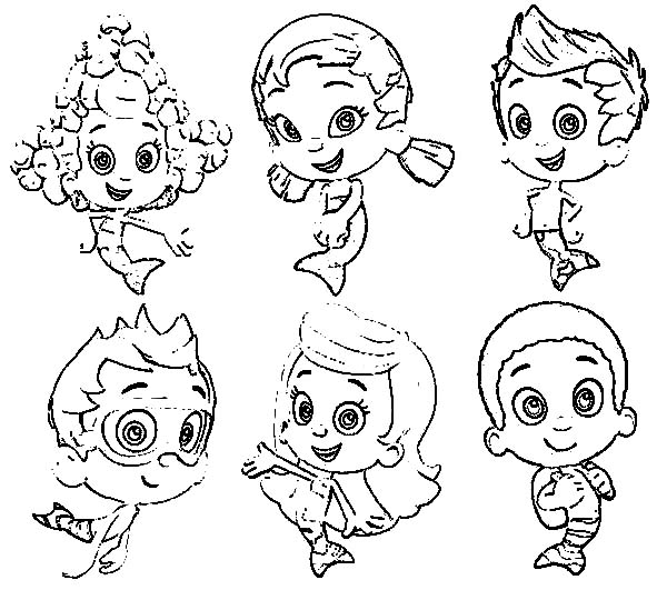 Bubble Guppies, : All Bubble Guppies Characters Coloring Page
