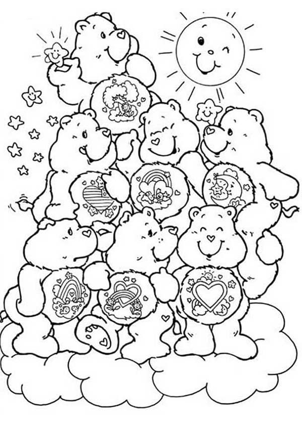 Care Bear, : All Care Bear Characters Coloring Page