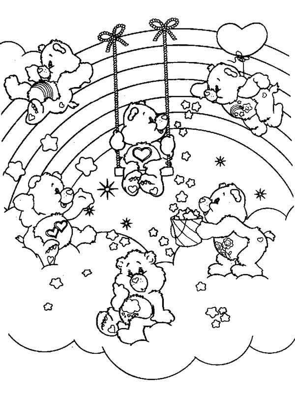 Care Bear, : All Care Bear Playing Together Coloring Page