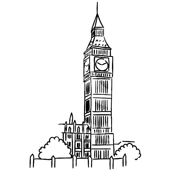 Drawing London Clock Tower Coloring Pages - NetArt | 627x600