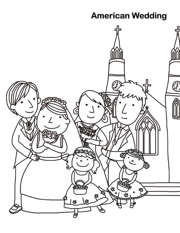 Wedding, : American Wedding Coloring Page