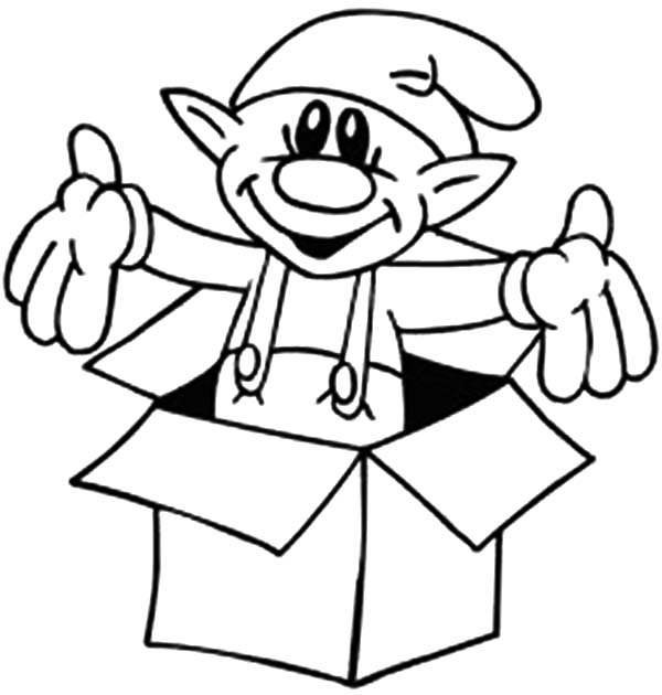 Box, : An Elf in a Box Coloring Page