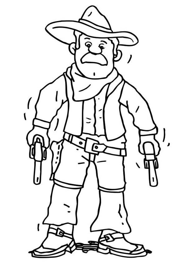 Cowboy, : An Old Cowboy Draws His Gun Coloring Page