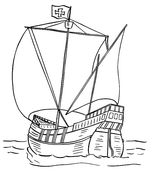 Boat, : Ancient Boat Design Coloring Page