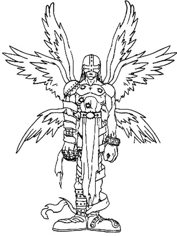 Digimon, : Angemon is an Angel Digimon with Six Shining Wings Coloring Page