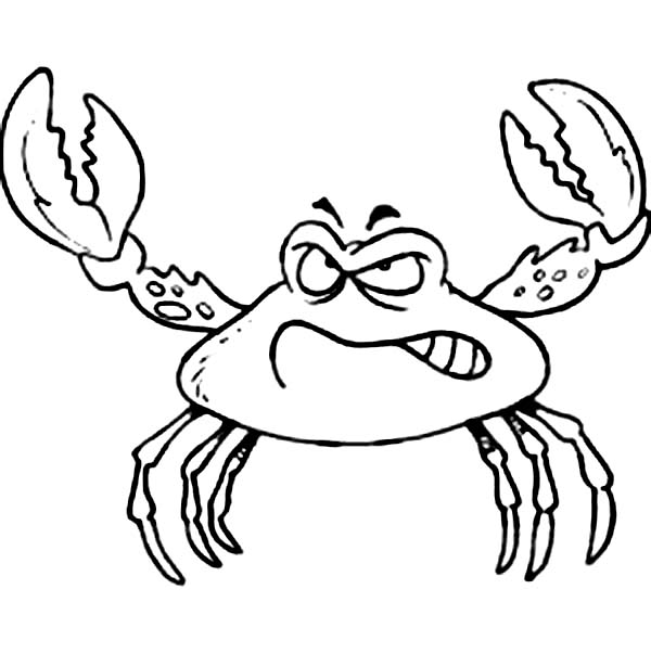 Crab, : Angry Crab Ready for Fight Coloring Page