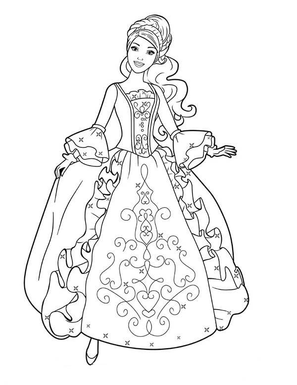 Dress, : Aramina in Beautiful Ball Dress Coloring Page