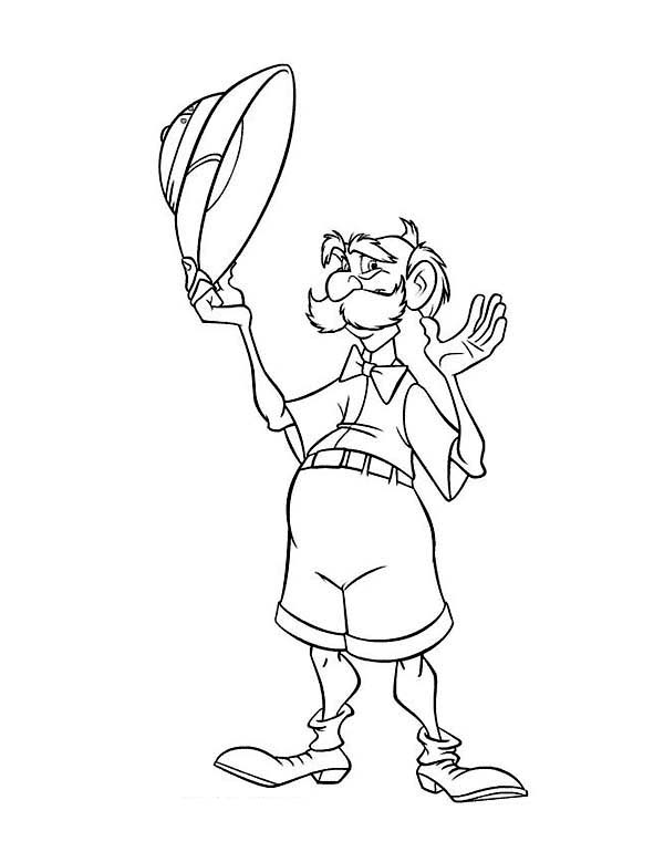 Tarzan, : Archimedes Wave His hat in Disney Tarzan Coloring Page