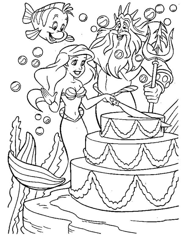 Ariel, : Ariel Cutting Birthday Cake for King Triton Coloring Page