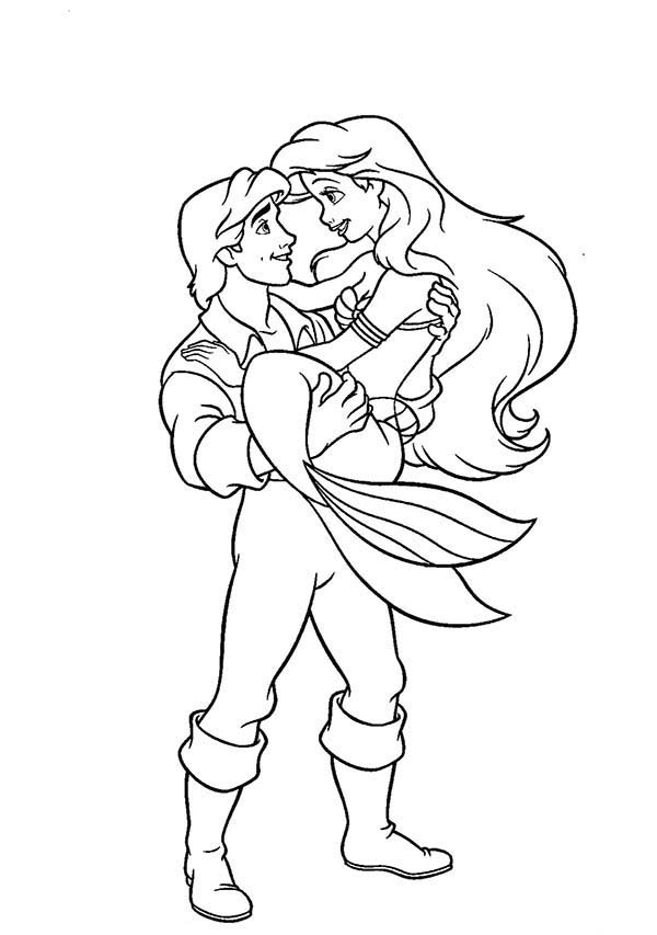 Ariel, : Ariel Lifted by Prince Eric Coloring Page