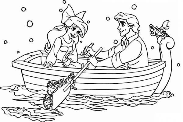 Ariel, : Ariel and Prince Eric are Sailing on Little Boat Coloring Page