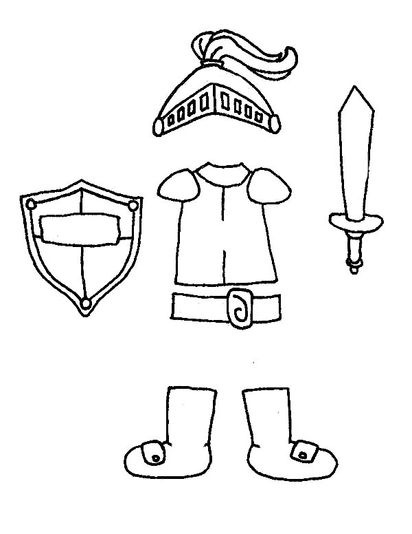 Armor of God, : Armor of God in Pieces Coloring Page
