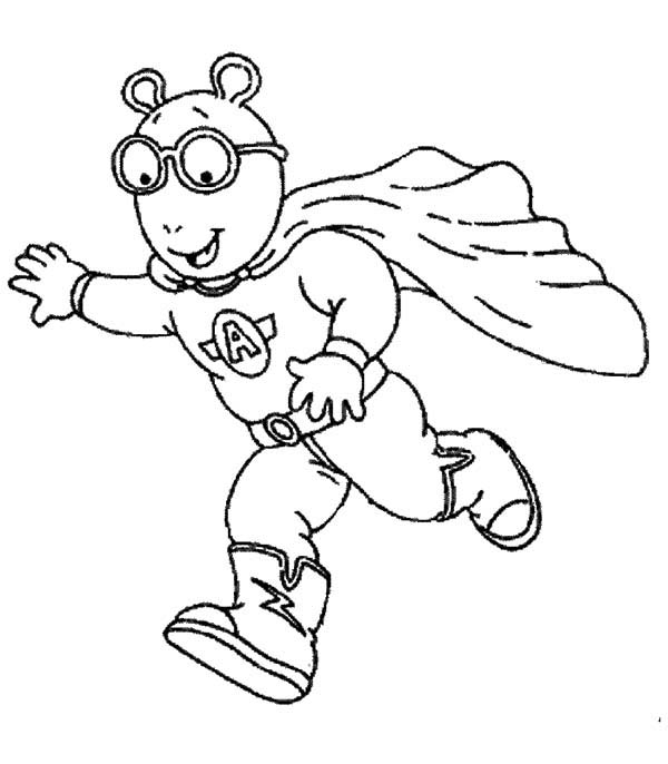 Arthur, : Arthur Flying Super Hero Coloring Page