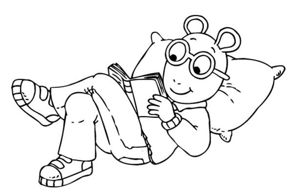 Arthur, : Arthur Read a Book While Relaxing at Home Coloring Page