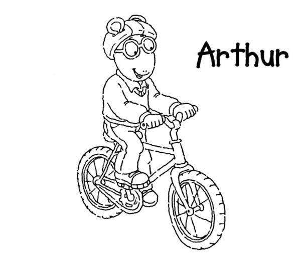 Arthur, : Arthur Riding Bike Coloring Page