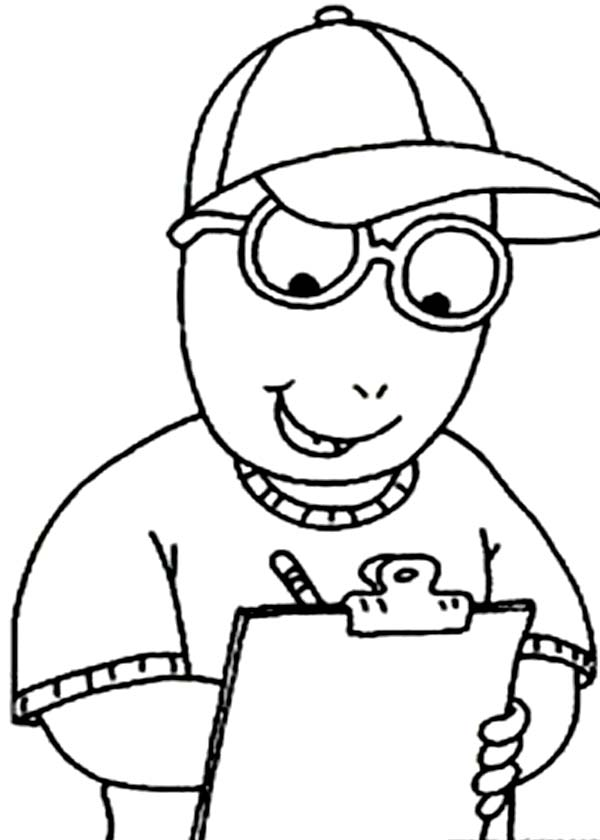 Arthur, : Arthur Take a Note Coloring Page